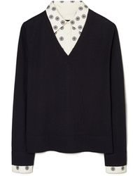 Tory Burch Embroidered Dickie V-neck Sweater - Black