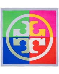 Tory Burch - Colorblock Logo Silk Square Scarf - Lyst