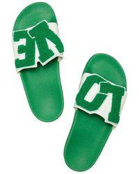 Tory Sport Love Slide Sandals - Green
