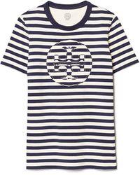 Tory Burch Gestreiftes T-Shirt Mit Logo - Schwarz