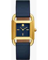 Tory Burch Phipps Watch, Navy Leather/gold-tone, 29 X 42 Mm - Blue