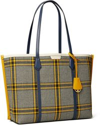 Tory Burch Perry Plaid Triple-compartment Tote Bag - Multicolour