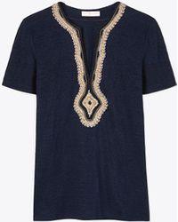 Tory Burch - Liliana Embellished T-shirt - Lyst