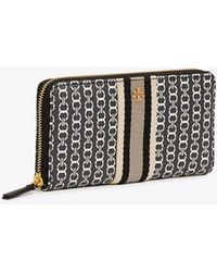 Tory Burch - Gemini Link Canvas Zip Continental Wallet | 892 | Continental - Lyst