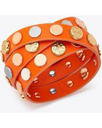 Tory Burch - Triple-wrap Logo Stud Bracelet - Lyst