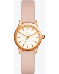 Tory Burch Gigi Watch, Blush Leather/rose Gold-tone, 28 Mm - Multicolour
