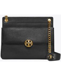 f952eb521f8ca Tory Burch Chelsea Stucco Suede Shoulder Bag in Natural - Lyst