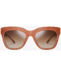 Tory Burch - Raffia Square Sunglasses - Lyst