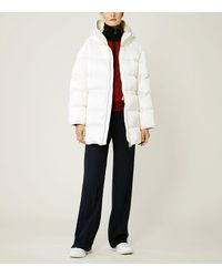 Tory Sport Hooded Performance Satin Down Jacket - White