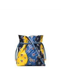 Tory Burch Kira Chevron Floral Patchwork Bucket Bag - Blue