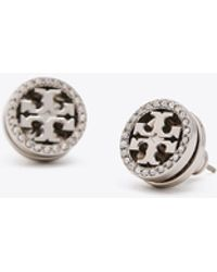 Tory Burch - Crystal Logo Circle-stud Earring - Lyst