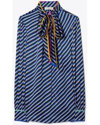 Tory Burch Bias Stripe Contrast Binding Silk Bow Blouse - Blue