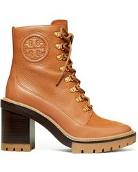 Tory Burch Miller Mixed-materials Lug Sole Boot - Brown
