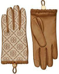 Tory Burch T Monogram Gloves - Brown