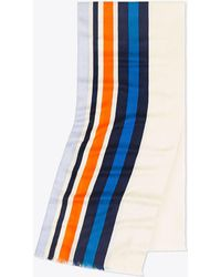 Tory Burch Traveler Striped Oblong Scarf - Blue