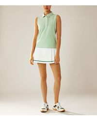 Tory Sport Performance Striped Sleeveless Ruffle Polo - Multicolor