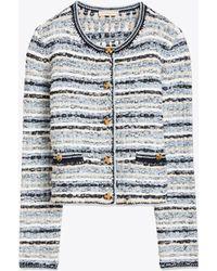 Tory Burch - Tweed Sweater Cardigan - Lyst