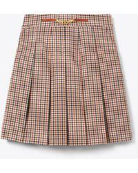Tory Burch Pleated Plaid Mini Skirt - Multicolour
