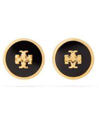 Tory Burch Kira Enamelled Circle Stud Earring - Black