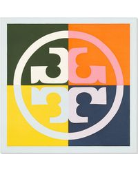 Tory Burch Color-block Logo Silk Neckerchief - Multicolor