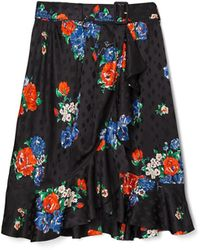 Tory Burch Floral Silk Skirt - Blau