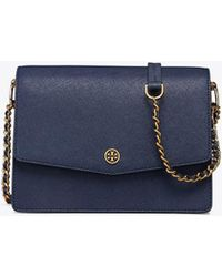 aa7eff8ea12 Tory Burch Robinson Color-Block Curved Satchel in Blue - Lyst