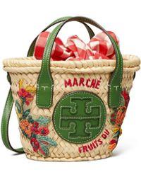 Tory Burch Ella Embroidered Straw Micro Basket - Multicolour