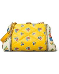 Tory Burch Cleo Quilted Floral Bag - Yellow