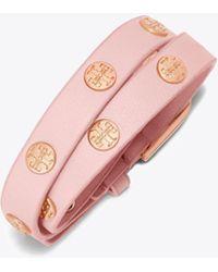Tory Burch - Double-wrap Logo Stud Bracelet | 238 | Bracelets - Lyst
