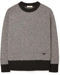 Tory Burch Two-tone Oversized Crewneck Sweater - Multicolor