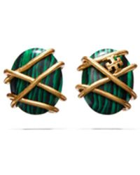 Tory Burch Roxanne Semiprecious Wrapped Stud Earring - Grün