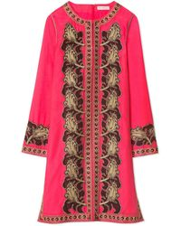 Tory Burch Embroidered Caftan - Pink