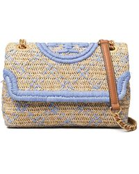 Tory Burch Fleming Soft Straw Small Convertible Shoulder Bag - Multicolour