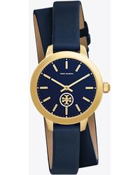 Tory Burch - Collins Leather 32mm Double Wrap Navy/gold - Lyst