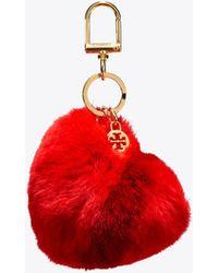 Tory Burch - Striped Heart Key Ring - Lyst