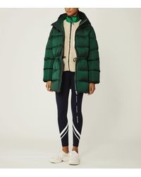 Tory Sport Hooded Performance Satin Down Jacket - Green