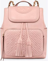 Tory Burch - Shell Pink Quilted Leather Fleming Backpack - Lyst