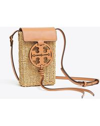 74453358f221 Lyst - Tory Burch Miller Black Leather Phone Case Cross-body Bag in ...