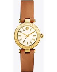 Tory Burch - Classic-t Watch, Luggage Leather/gold-tone, 30mm - Lyst