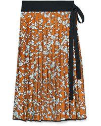 Tory Burch Print Pleated Silk Skirt - Multicolor