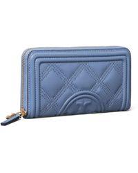 Tory Burch Fleming Soft Zip Continental Wallet - Blau