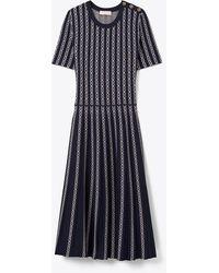 Tory Burch Short-sleeve Gemini Link Jacquard A-line Dress - Black