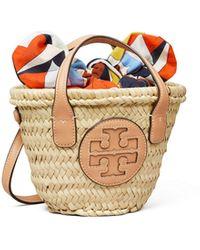 Tory Burch Ella Straw Micro Basket Tote Bag - Multicolour