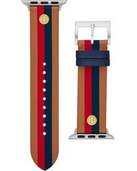 Tory Burch Seasonal Stripes Band For Apple Watch®, Multicolor Leather, 38 Mm - 40 Mm - Mehrfarbig
