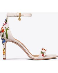 Tory Burch - Ellie Embroidered Ankle-strap Sandal - Lyst