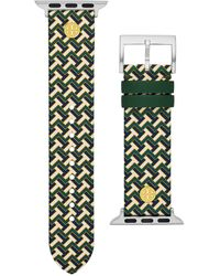 Tory Burch T-Zag Band For Apple Watch®, Green Multicolor Leather, 38 Mm - 40 Mm - Grün