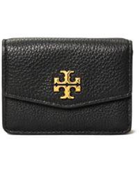 Tory Burch Kira Mixed-materials Tri-fold Mini Wallet - Black