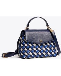 ff038a740480 Tory Burch - Robinson Woven Small Top-handle Satchel - Lyst