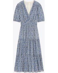 0a3db8a5128 Tory Burch - Printed Cotton-silk Dress - Lyst