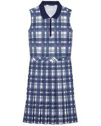 Tory Sport Printed Performance Pleated Golf Dress - Blue